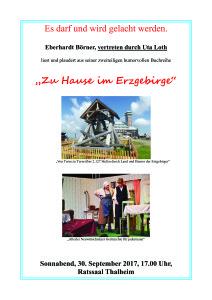 NEU Thalheimer Verkaufsnacht, Plakat für Lesung im Rathaus1 Kopie
