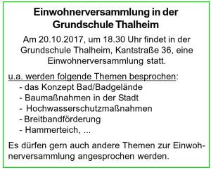 Einwohnerversammlung Oktober 2017