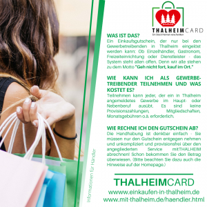 Information zur Thalheimcard für Händler